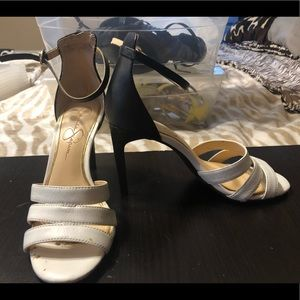 Black and white heeled sandals great condition